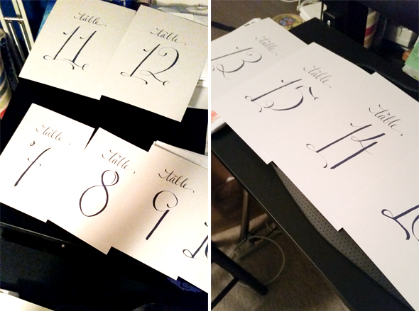 Calligraphy Wedding Table Numbers