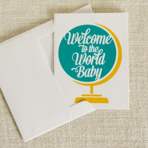 Screen printed baby card