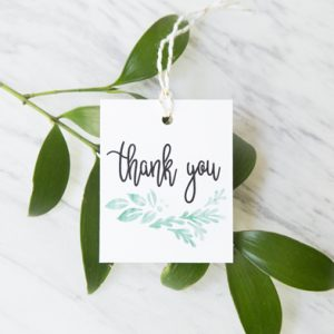 watercolor greenery favor tags